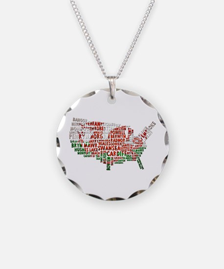 Welsh Place Names USA Map Necklace