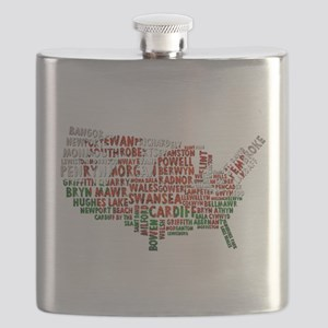 Welsh Place Names USA Map Flask