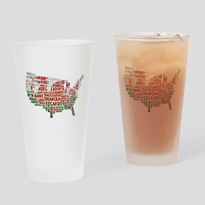 Welsh Place Names USA Map Drinking Glass