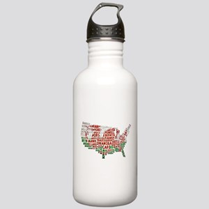 Welsh Place Names USA Map Stainless Water Bottle 1