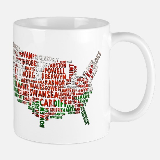 Welsh Place Names USA Map Mug