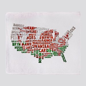 Welsh Place Names USA Map Throw Blanket