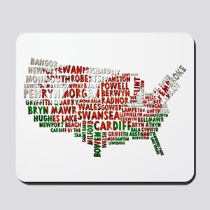Welsh Place Names USA Map Mousepad