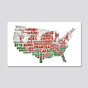 Welsh Place Names USA Map 20x12 Wall Decal