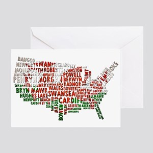 Welsh Place Names USA Map Greeting Card