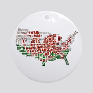 Welsh Place Names USA Map Ornament (Round)