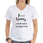F Romney Women's V-Neck T-Shirt