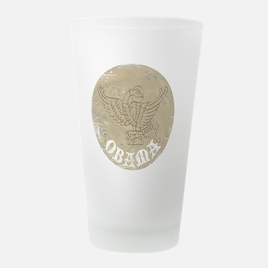 2-Obama circle vintage.png Frosted Drinking Glass