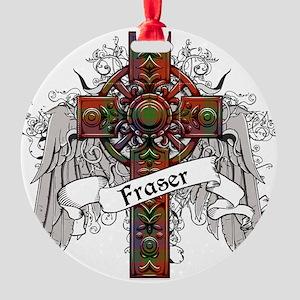 Fraser Tartan Cross Round Ornament