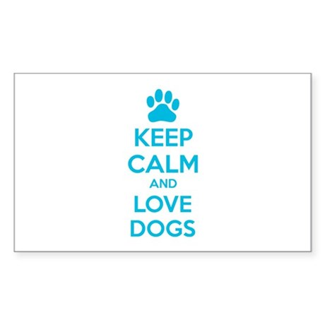 Keep calm and love dogs Sticker (Rectangle)