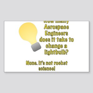 Aerospace Engineer Lightbulb Joke Sticker (Rectang