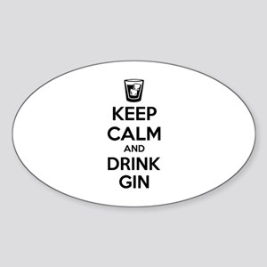 Keep calm and drink gin Sticker (Oval)