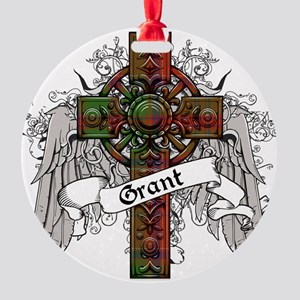 Grant Tartan Cross Round Ornament
