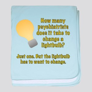 Psychiatrist lightbulb joke baby blanket