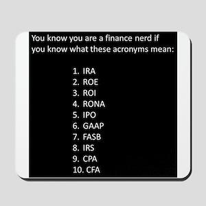 Finance Nerd Acronyms Mousepad