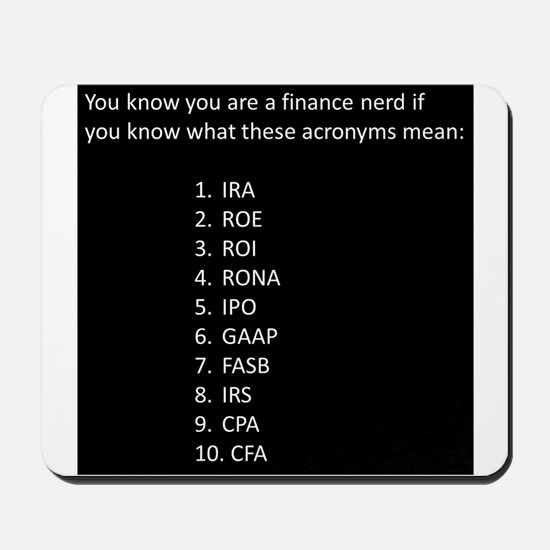 Finance Nerd Acronyms Mousepad