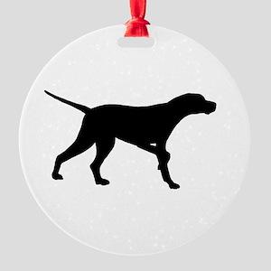 Pointer Dog On Point Round Ornament