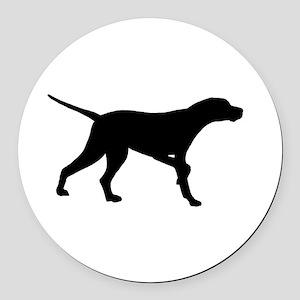 Pointer Dog On Point Round Car Magnet