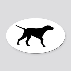 Pointer Dog On Point Oval Car Magnet
