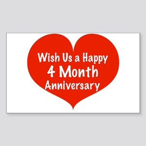 Wish us a Happy 4 month Anniversary Sticker (Recta