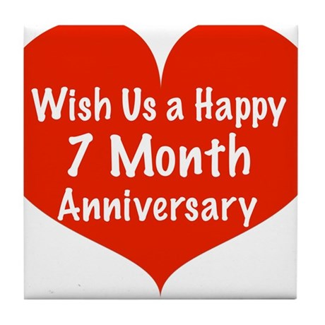 wish us a happy 7 month anniversary tile coaster by listing store