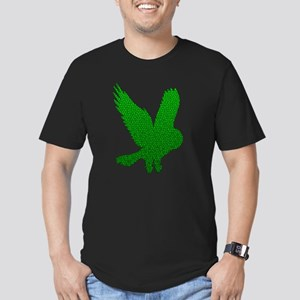 Green Owl in Flight Mosaic Men's Fitted T-Shirt (d