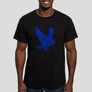 Blue Owl in Flight Mosaic Men's Fitted T-Shirt (da