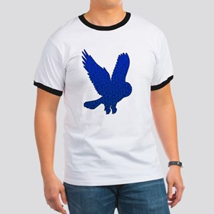 Blue Owl in Flight Mosaic Ringer T