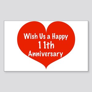 Wish us a Happy 11th Anniversary Sticker (Rectangl