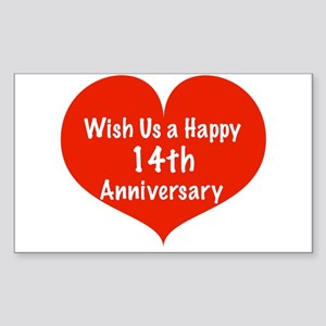 Wish us a Happy 14th Anniversary Sticker (Rectangl