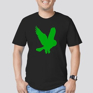 Green Owl in Flight Men's Fitted T-Shirt (dark)