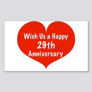 Wish us a Happy 29th Anniversary Sticker (Rectangl