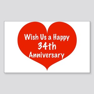 Wish us a Happy 34th Anniversary Sticker (Rectangl