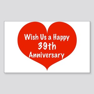 Wish us a Happy 39th Anniversary Sticker (Rectangl
