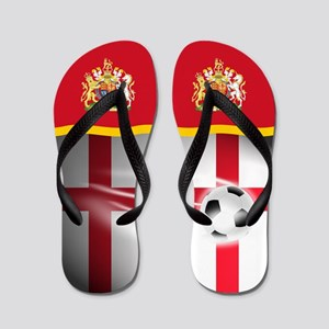 English England Football Soccer Flip Flops