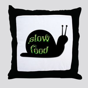 Slow Food Snail Throw Pillow
