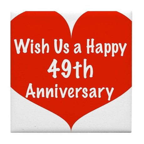 60th Anniversary Gifts >> Wish us a Happy 49th Anniversary Tile Coaster by listing-store-11989343