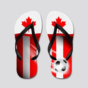 Canadian Canada Football Soccer Flip Flops