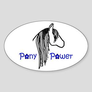 Pony Power Blue Oval Sticker
