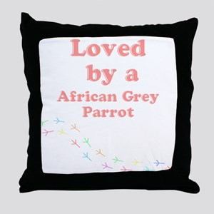 Loved by aAfrican Grey Parrot Throw Pillow