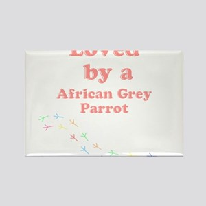 Loved by aAfrican Grey Parrot Rectangle Magnet
