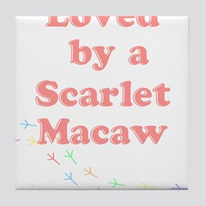 Loved by a Scarlet Macaw Tile Coaster