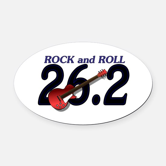 Rock and Roll MArathon Oval Car Magnet