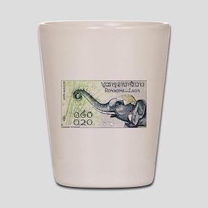 Laos Elephant Profile Stamp 1958 Shot Glass