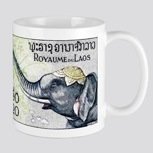 Laos Elephant Profile Stamp 1958 Mug