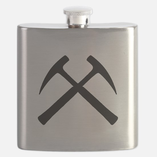 Crossed Rock Hammers Flask