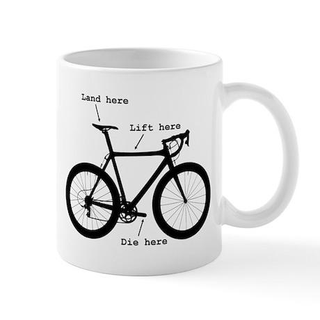 Lift here, land here, die here Mug