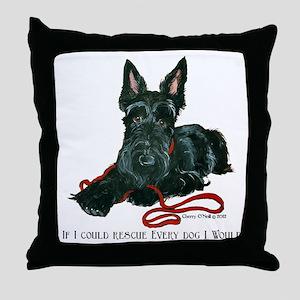 Scottish Terrier Rescue Me Throw Pillow