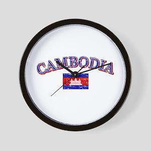 Cambodia Flag Designs Wall Clock
