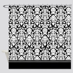 Black Damask Shower Curtain